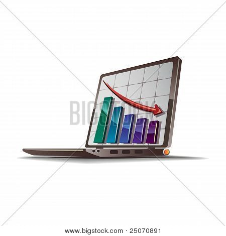 Graph going down vector drawing