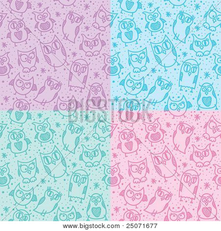 owl seamless patterns