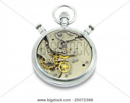 Stopwatch works isolated on white background, clipping path included.