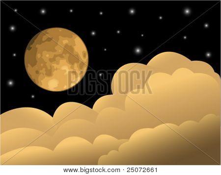 Lua cheia, nuvens e estrelas.