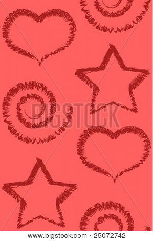 Seamless vector pattern of stars, scrolls and hearts.
