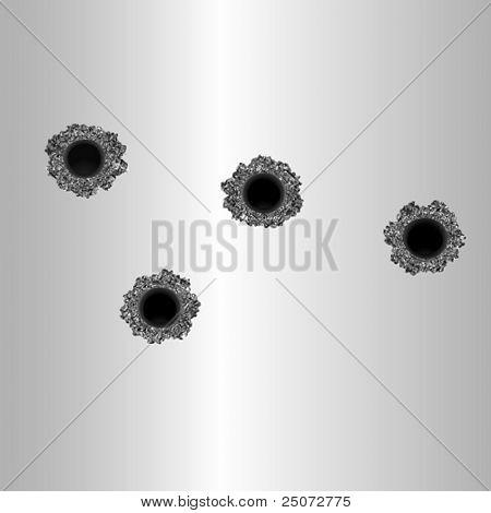 Vector format of bullet holes in metal plate.