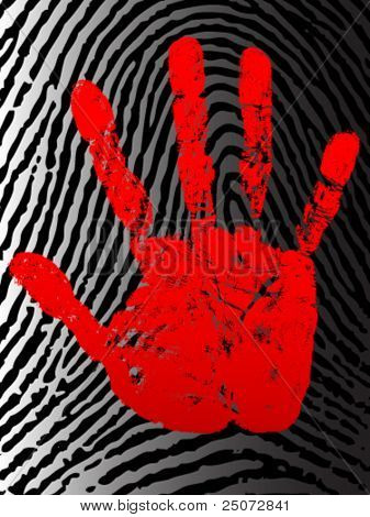 Bloody hand print on the background of fingerprint.