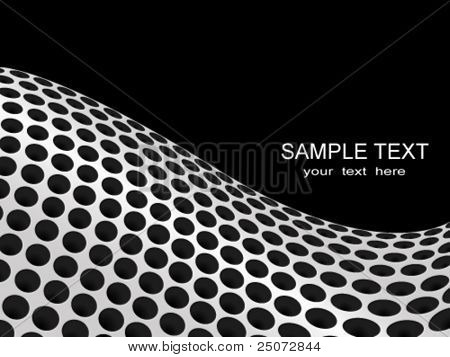 Abstract vector background of perforated metal plate forming a wave.