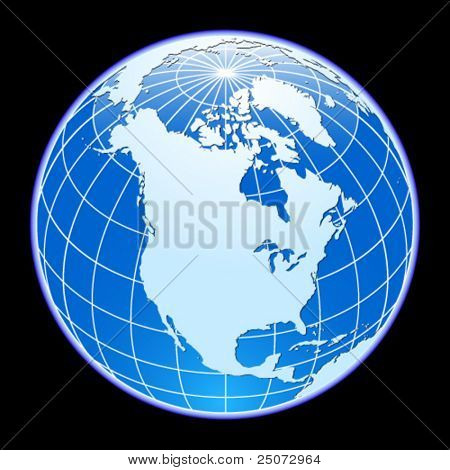 Blue vector globe. North America.