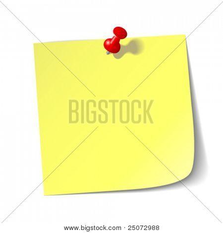Gelbe Erinnerung Hinweis mit roten Pin.