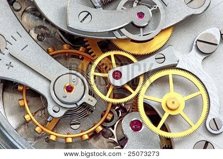 Closeup of metal clock works.