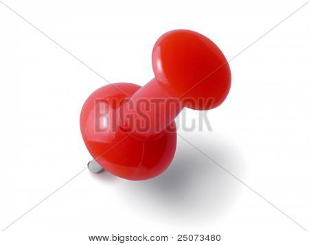 Red thumbtack isolated on the white background.