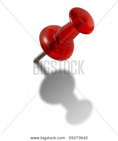 Rote Push-Pins isoliert auf weißem Hintergrund, Clipping Path included.