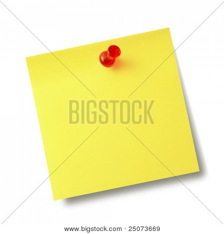 Gelbe Erinnerung Hinweis mit roten Pin isolated on white Background.