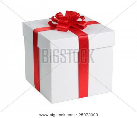 Geschenkbox mit Multifunktionsleiste Ende Bow isolated on the white Background Clipping Path included.