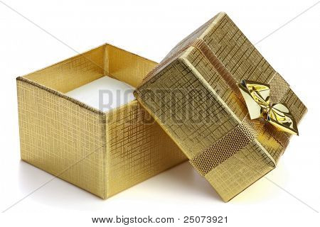 Open gift box with ribbon and bow isolated on the white background, clipping path included.