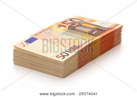 Pile of fifty euro banknotes, isolated on the white background, clipping path included. Full focus.