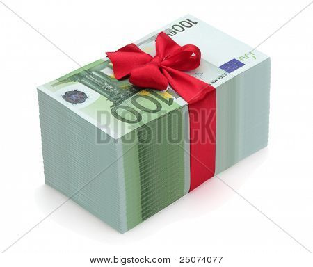 Pile of one hundred euro banknotes with red ribbon and bow, isolated on the white background, clipping path included.