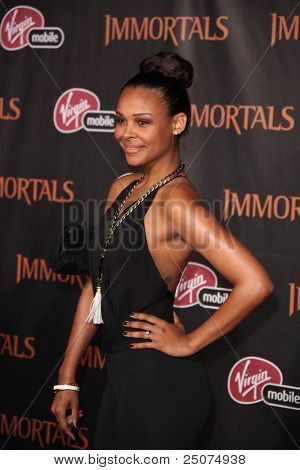 "LOS ANGELES - NOV 7:  Samantha Mumba arrives at the ""Immortals 3D"" Premiere at Nokia Theater at LA Live on November 7, 2011 in West Hollywood, CA"
