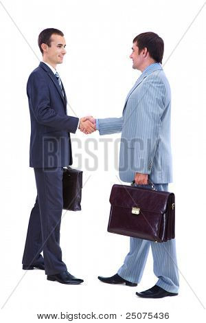 Photo of smart businessmen with briefcases handshaking on white background