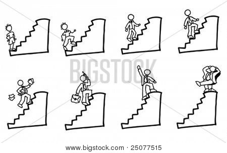 handdrawn stick figure businessman climbing up the stairs