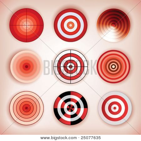 set of different isolated dartboards