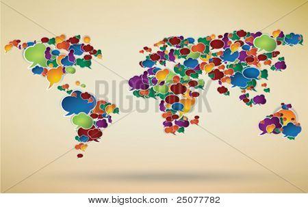 Ilustración abstracta de la red social del mundo representado con burbujas de discurso
