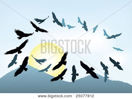 eagle silhouettes against a mountain background