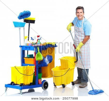 professionellen Reiniger Mann mit Janitor Cart. isolated on white Background...
