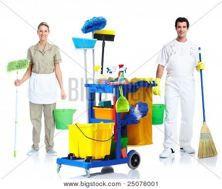 professionellen Reiniger Mann und Frau mit Janitor Cart. isolated on white Background...