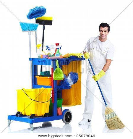 professionellen Reiniger Mann mit Janitor Cart. isolated on white Background...