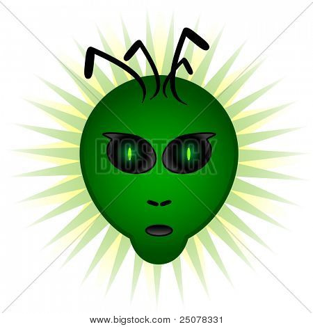 An alien head with a pair of green mesmerizing eyes. Is it trying to communicate? (JPG Version)