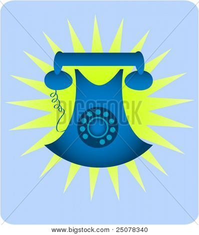 A blue retro analogue dial tone telephone.