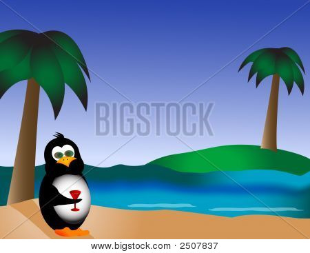 Penguin On The Beach With Drink