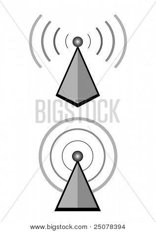 Two wireless base station broadcasting digital data.