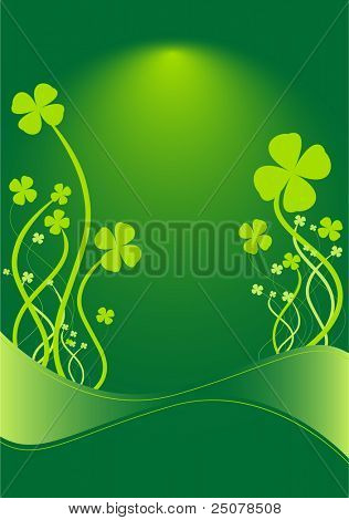 A green St Patrick background with shamrock floral ornaments.