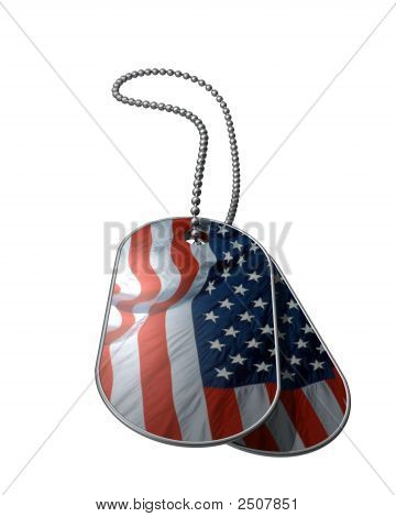 American Flag Dog Tags On White