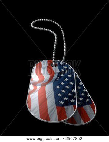 American Flag Dog Tags On Black
