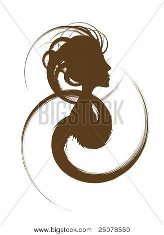 Hair Design Logo â?? Female silhouette with funky hair design.