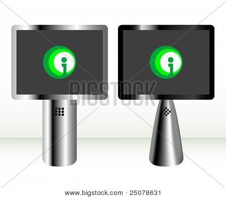 Information Kiosk – Silver and black landscape LCD display panel.