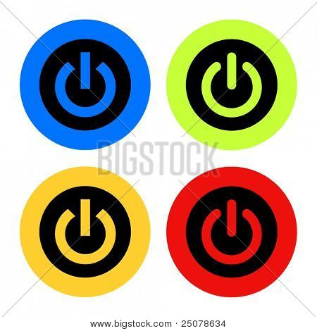 A collection of red, green, blue, and yellow computer power buttons.