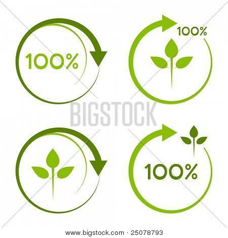 Logotipo reciclable cien por ciento.