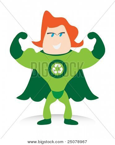 The Recycle-man is a green environmentally friendly super hero.