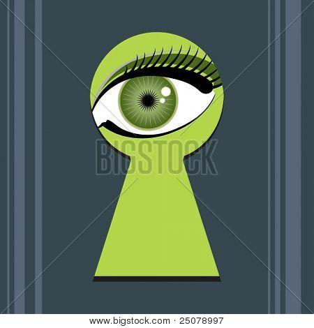 Green eye spying through a key hole.