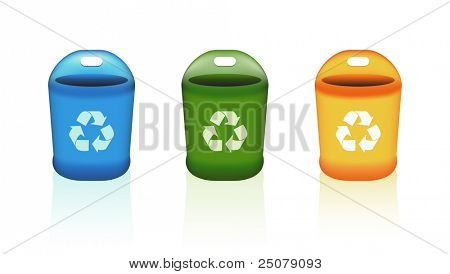 Blue, green, and yellow recycle bins each with a handle grip.