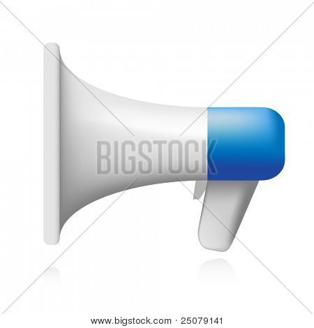 Blue and white retro megaphone.