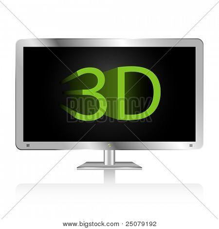 Silber flach Breitbild-display mit 3d Technologie.