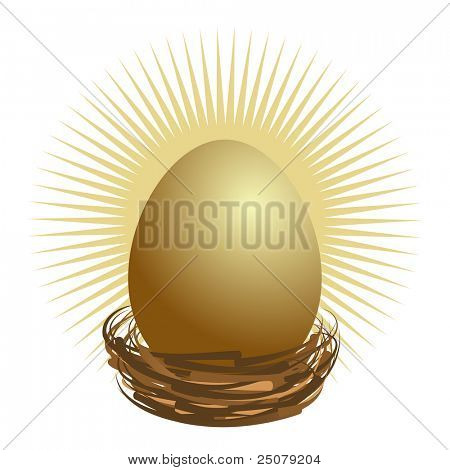 Financial golden nest egg concept.