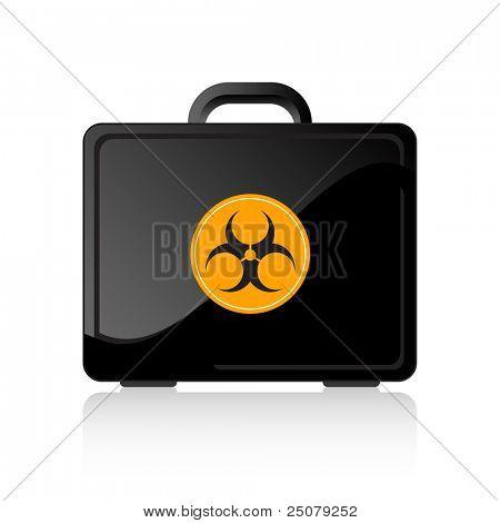 Black bio-hazard suitcase. Quarantine concept.