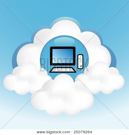Cloud computing concept. Thin client computer on the cloud.