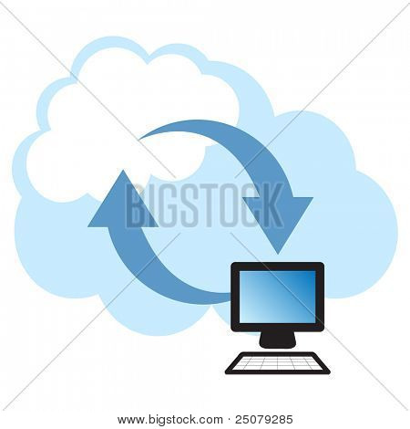 """Cloud computing concept. Client computer synchronizing data with the """"cloud""""."""