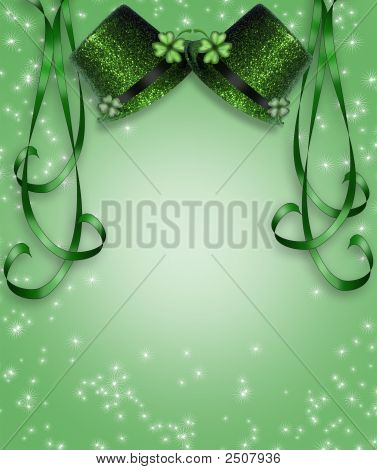St Pattys Day Hats And Ribbons Background 3D