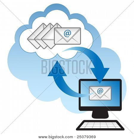 "Cloud computing concept. Client computer synchronizing email with the ""cloud""."