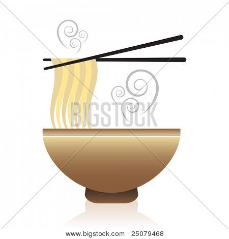 Bowl of hot oriental noodle soup with chopsticks.